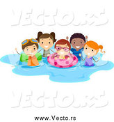 Vector of a Happy Summer Stick Kids Playing in a Pool by BNP Design Studio