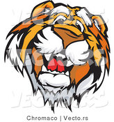 Vector of a Happy Tiger Mascot Profile by Chromaco