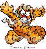 Vector of a Happy Tiger Mascot Running Around in a Playful Manner by Chromaco