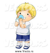 Vector of a Happy White Blond Boy Drinking a Glass of Milk by BNP Design Studio