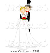 Vector of a Happy White Groom Hugging His Bride from Behind by BNP Design Studio
