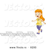 Vector of a Happy White School Girl Playing Hop Scotch on the Playground at Recess by BNP Design Studio