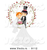 Vector of a Happy Young Couple Posing at a Wedding with Love Hearts by BNP Design Studio