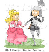 Vector of a Happy Young Knight and Princess Walking Together by BNP Design Studio