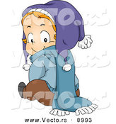 Vector of a Happyp Toddler Boy Wearing Winter Clothes While Looking Back by BNP Design Studio