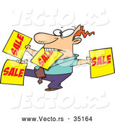 Vector of a Hard Working Cartoon Salesman Advertising Lots of 'SALE' Signs by Toonaday