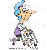 Vector of a Healthy Cartoon Granny Running with a Walker by Ron Leishman