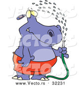Vector of a Hippo Spraying Himself with a Hose by Toonaday