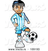 Vector of a Hispanic Kid Playing Soccer by Clip Art Mascots