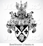 Vector of a Historic Black and White Knight Helmet Above Shield with a Phoenix Bird by BestVector