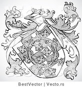 Vector of a Historic Black and White Knight's Shield by BestVector