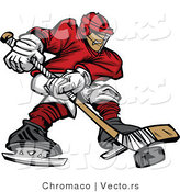 Vector of a Hockey Player Moving Puck with Stick by Chromaco