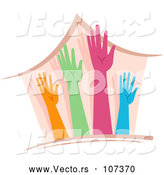 Vector of a Home with 4 Different Colored Hands and Arms Reaching Upwards by BNP Design Studio