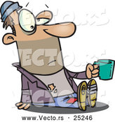 Vector of a Homeless Cartoon Man Holding a Money Cup out by Toonaday