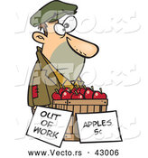 Vector of a Homeless Cartoon Man Trying to Sell Fresh Red Apples for 5 Cents Each - out of Work by Toonaday