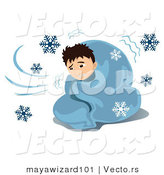 Vector of a Homeless Sick Boy Shivering Under Blanket While It Snows Outside by Mayawizard101