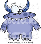 Vector of a Horned Cartoon Blue Monster with Spots by Toonaday