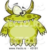 Vector of a Horned Cartoon Green Monster with Spots by Toonaday