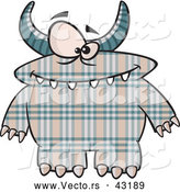 Vector of a Horned Cartoon Plaid Monster with Spots by Toonaday