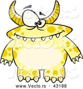 Vector of a Horned Cartoon Yellow Monster with Spots by Toonaday