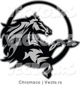 Vector of a Horse Rearing up - Grayscale Design by Chromaco