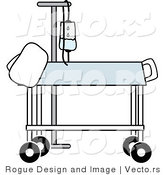 Vector of a Hospital Gurney Beside IV Stand in a Medical Room by Pams Clipart