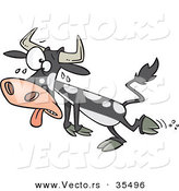 Vector of a Hot Cartoon Cow Falling Towards the Ground While Sweating with His Tongue out and Crossed Eyes by Ron Leishman