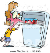 Vector of a Hot Cartoon Woman Standing Beside Freezer While Having a Hot Flash by Toonaday