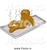 Vector of a Hot Gingerbread Man Getting up from a Warm Cookie Sheet by LaffToon