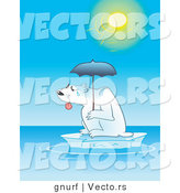 Vector of a Hot Polar Bear on a Tiny Iceberg with an Umbrella to Block the Sun by Gnurf