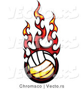 Vector of a Hot Volleyball on Fire by Chromaco
