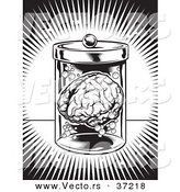 Vector of a Human Brain in a Jar - Black and White Art by Lawrence Christmas Illustration