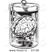 Vector of a Human Brain in a Jar - Black and White Halloween Line Art by Lawrence Christmas Illustration