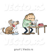 Vector of a Hungry Cartoon Dog Looking at His Owner Prepare Him Mouth Watering Wet Food by Gnurf