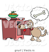 Vector of a Hungry Cartoon Dog Looking for Food by Gnurf