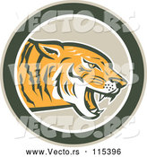 Vector of a Hungry Tiger Growling in a Green Circle by Patrimonio