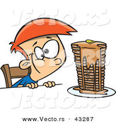 Vector of a Hungy Cartoon Boy Looking at a Stack of Pancakes Dripping with Syrup by Toonaday