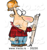 Vector of a Injured Cartoon Carpenter Looking at a Nail Through His Hand While Holding a Hammer and Wood Board by Toonaday