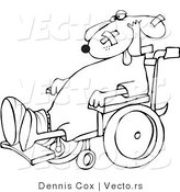 Vector of a Injured Cartoon Dog in a Wheelchair - Line Drawing by Djart