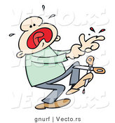 Vector of a Injured Cartoon Man Crying and Screaming After Cutting His Finger with Scissors by Gnurf
