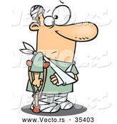 Vector of a Injured Cartoon Man with a Crutch, Broken Arm, and Bandages Around His Head and Feat by Toonaday
