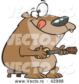 Vector of a Intelligent Cartoon Bear Playing a Ukelele by Toonaday