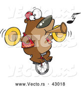 Vector of a Intelligent Cartoon Bear Playing Music While Riding a Unicycle by Ron Leishman