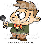 Vector of a Interviewing Cartoon Boy Holding out a Microphone While Smiling by Toonaday