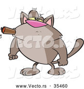 Vector of a Intimidating Cartoon Cat Smoking a Cigar with His Fists Balled by Toonaday