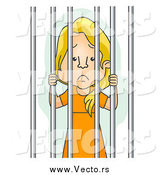Vector of a Jailed Blond White Woman in Orange by BNP Design Studio