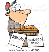 Vector of a Jobless Cartoon Man Trying to Sell Fresh Oranges by Toonaday