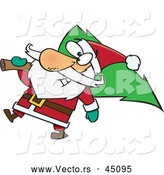 Vector of a Jolly Cartoon Santa Delivering a Christmas Tree by Toonaday