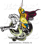 Vector of a Knight Attacking Snake Spear While on a White Horse - Retro Style by Patrimonio