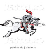 Vector of a Knight Charging Forward with a Spear on a Horse by Patrimonio